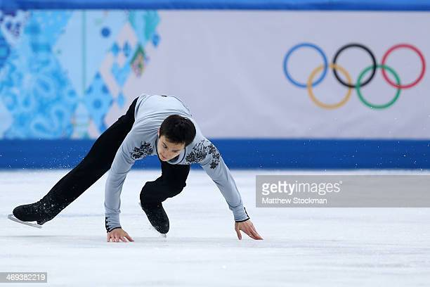 Patrick Chan of Canada falls as he competes during the Figure Skating Men's Free Skating on day seven of the Sochi 2014 Winter Olympics at Iceberg...