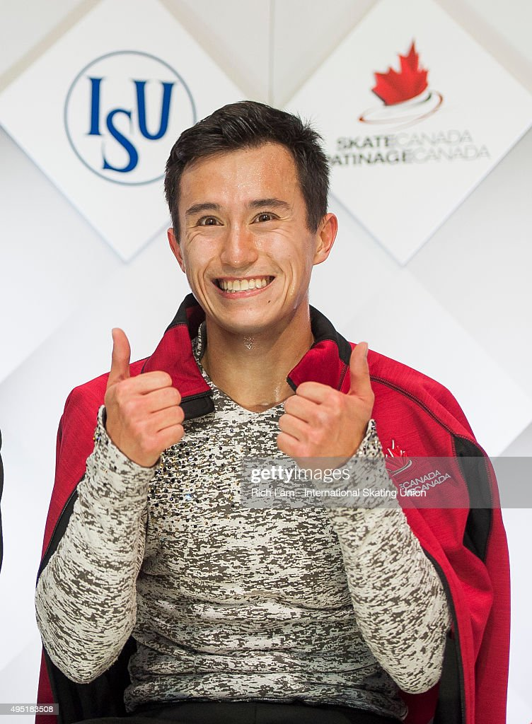 Patrick Chan of Canada gives a thumbs up after seeing his score in the Men Free Skate on day two of Skate Canada International ISU Grand Prix of Figure Skating, October, 31, 2015 at ENMAX Centre in Lethbridge, Alberta, Canada.