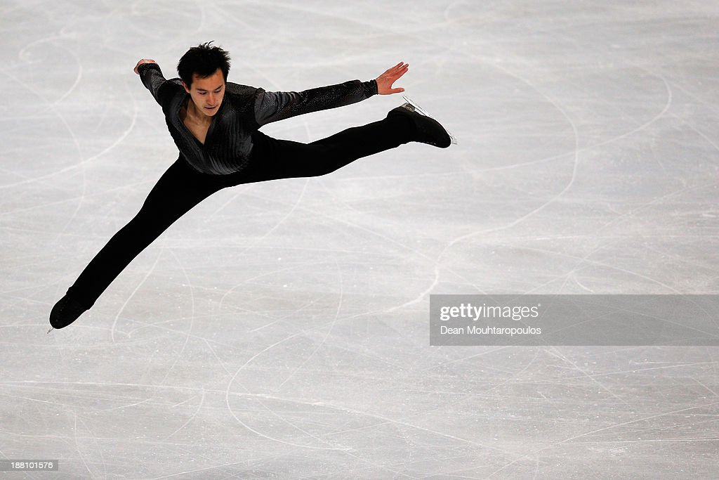 <a gi-track='captionPersonalityLinkClicked' href=/galleries/search?phrase=Patrick+Chan&family=editorial&specificpeople=4036503 ng-click='$event.stopPropagation()'>Patrick Chan</a> of Canada performs in the Mens Short Program during day one of Trophee Eric Bompard ISU Grand Prix of Figure Skating 2013/2014 at the Palais Omnisports de Bercy on November 15, 2013 in Paris, France.