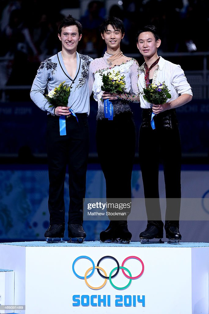 Patrick Chan of Canada poses after winning the silver, Yuzuru Hanyu of Japan after winning the gold and Denis Ten of Kazakhstan after winning the bronze in the Figure Skating Men's Free Skating on day seven of the Sochi 2014 Winter Olympics at Iceberg Skating Palace on February 14, 2014 in Sochi, Russia.