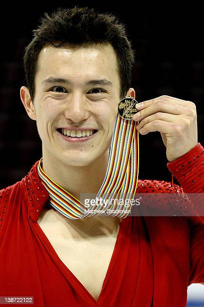 Patrick Chan of Canada poses with the gold medal after winning the Men Competition during the ISU Four Continents Figure Skating Championships at...