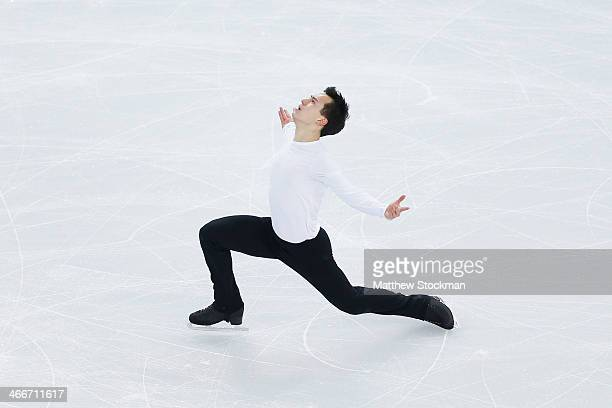 Patrick Chan of Canada practices his routine during Figure Skating training ahead of the Sochi 2014 Winter Olympics at Iceberg Skating Palace on...