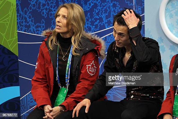 Patrick Chan of Canada reacts after his routine in the men's figure skating short program on day 5 of the Vancouver 2010 Winter Olympics at the...