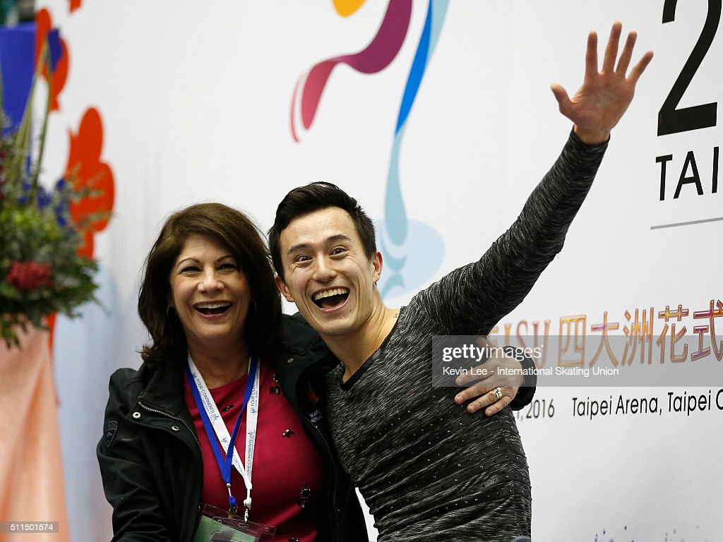<a gi-track='captionPersonalityLinkClicked' href=/galleries/search?phrase=Patrick+Chan&family=editorial&specificpeople=4036503 ng-click='$event.stopPropagation()'>Patrick Chan</a> of Canada reacts after winning the Men's Figure Skating on day four of the ISU Four Continents Figure Skating Championships 2016 at Taipei Arena on February 21, 2016 in Taipei City, Taiwan.