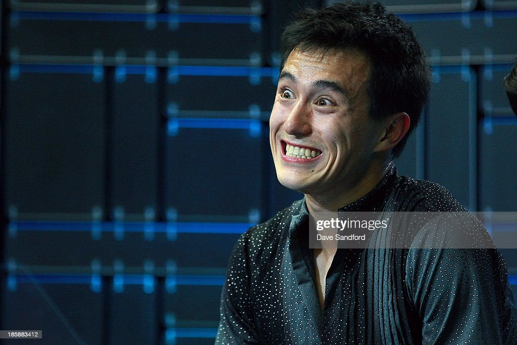 <a gi-track='captionPersonalityLinkClicked' href=/galleries/search?phrase=Patrick+Chan&family=editorial&specificpeople=4036503 ng-click='$event.stopPropagation()'>Patrick Chan</a> of Canada smiles after hearing his 1st place score during the men's short program at the ISU GP 2013 Skate Canada International at Harbour Station on October 25, 2013 in Saint John, New Brunswick, Canada.