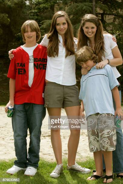Image has been digitally retouched Patrick Christina Christopher and Katherine Schwarzenegger attend the 'The Benchwarmers'nStars vs youth players...