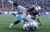 Patrick Chung of the New England Patriots breaks up a pass intended for Joseph Fauria of the Detroit Lions during the second quarter at Gillette...