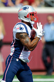 Patrick Chung of the New England Patriots catches a punt during the game against the Minnesota Vikings on September 14 2014 at TCF Bank Stadium in...