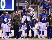 Patrick Chung of the New England Patriots is called for pass interference on a pass intended for Shane Vereen of the New York Giants during the third...