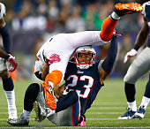 Patrick Chung of the New England Patriots makes a tackle during the fourth quarter against the Cincinnati Bengals at Gillette Stadium on October 5...
