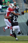 Patrick Chung of the Philadelphia Eagles break up a pass intended for Brittan Golden of the Arizona Cardinals at Lincoln Financial Field on December...