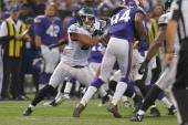 Patrick Chung of the Philadelphia Eagles covers against the Minnesota Vikings at Mall of America Field on December 15 2013 in Minneapolis Minnesota...