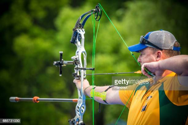 Patrick Coghlan of Australia shoots during the Men's compound finals during the Hyundai Archery World Cup 2017 Stage 1 on May 20 2017 in Shanghai...