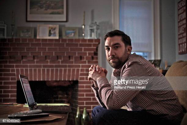 Patrick Conway a 2003 Deering High School grad sits at his laptop where he does much of his writing in his Quincy home Friday Feb 12 2016 Conway...