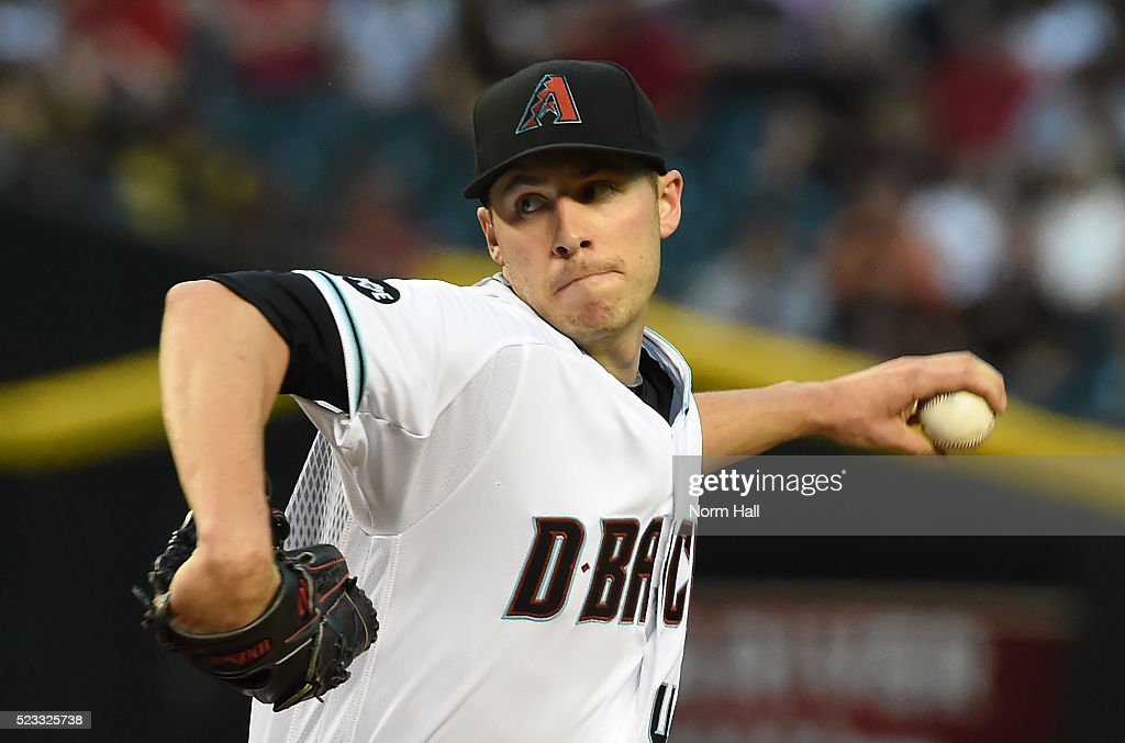 Patrick Corbin of the Arizona Diamondbacks delivers a first inning pitch against the Pittsburgh Pirates at Chase Field on April 22 2016 in Phoenix...