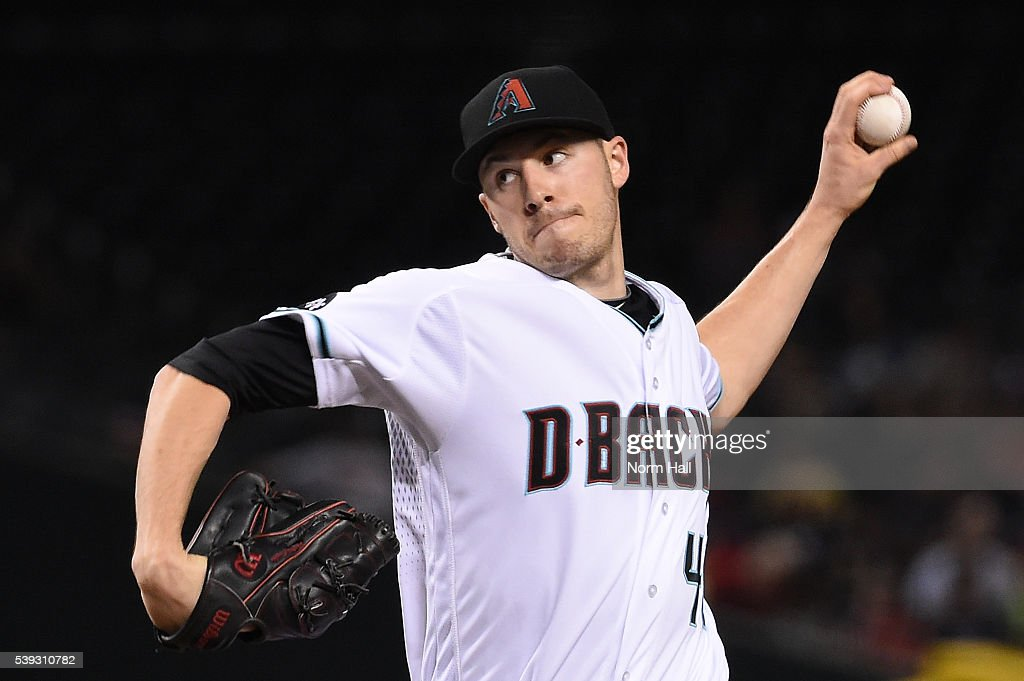 Patrick Corbin of the Arizona Diamondbacks delivers a first inning pitch against the Miami Marlins at Chase Field on June 10 2016 in Phoenix Arizona