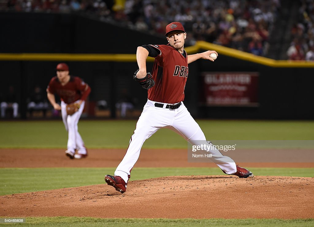 Patrick Corbin of the Arizona Diamondbacks delivers a first inning pitch against the Los Angeles Dodgers at Chase Field on June 15 2016 in Phoenix...