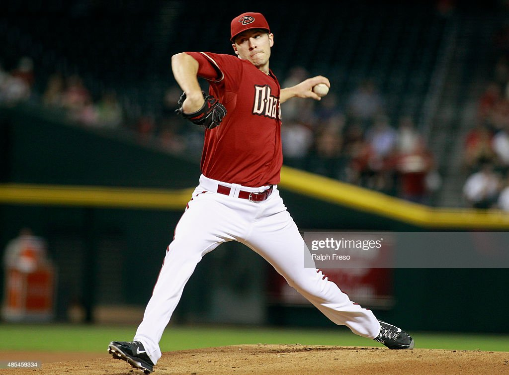 Patrick Corbin of the Arizona Diamondbacks delivers a pitch against the St Louis Cardinals during the first inning of a MLB game at Chase Field on...
