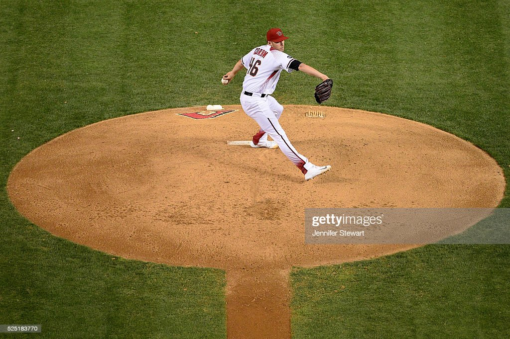 Patrick Corbin of the Arizona Diamondbacks delivers a pitch in the fourth inning against the St Louis Cardinals at Chase Field on April 27 2016 in...
