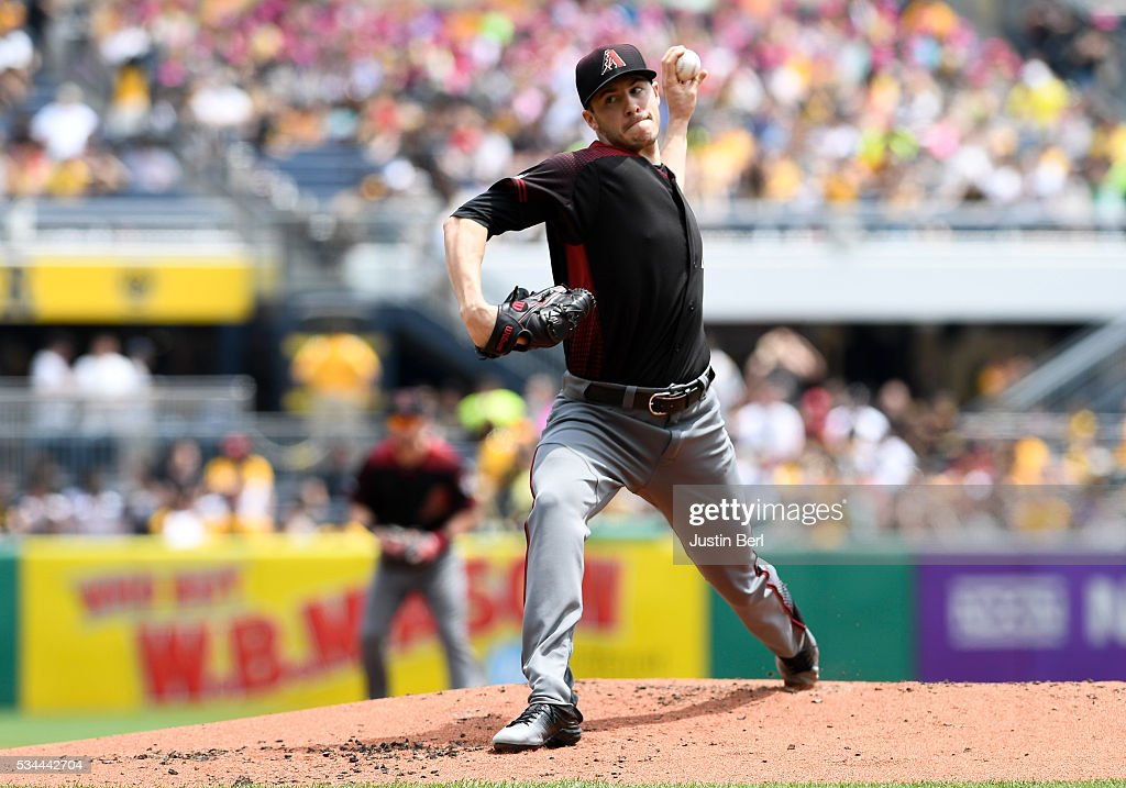 Patrick Corbin of the Arizona Diamondbacks delivers a pitch in the first inning during the game against the Pittsburgh Pirates at PNC Park on May 26...