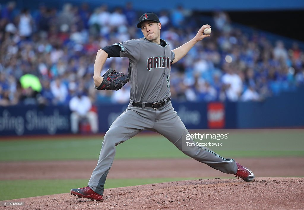 Patrick Corbin of the Arizona Diamondbacks delivers a pitch in the first inning during MLBgame action against the Toronto Blue Jays on June 21 2016...