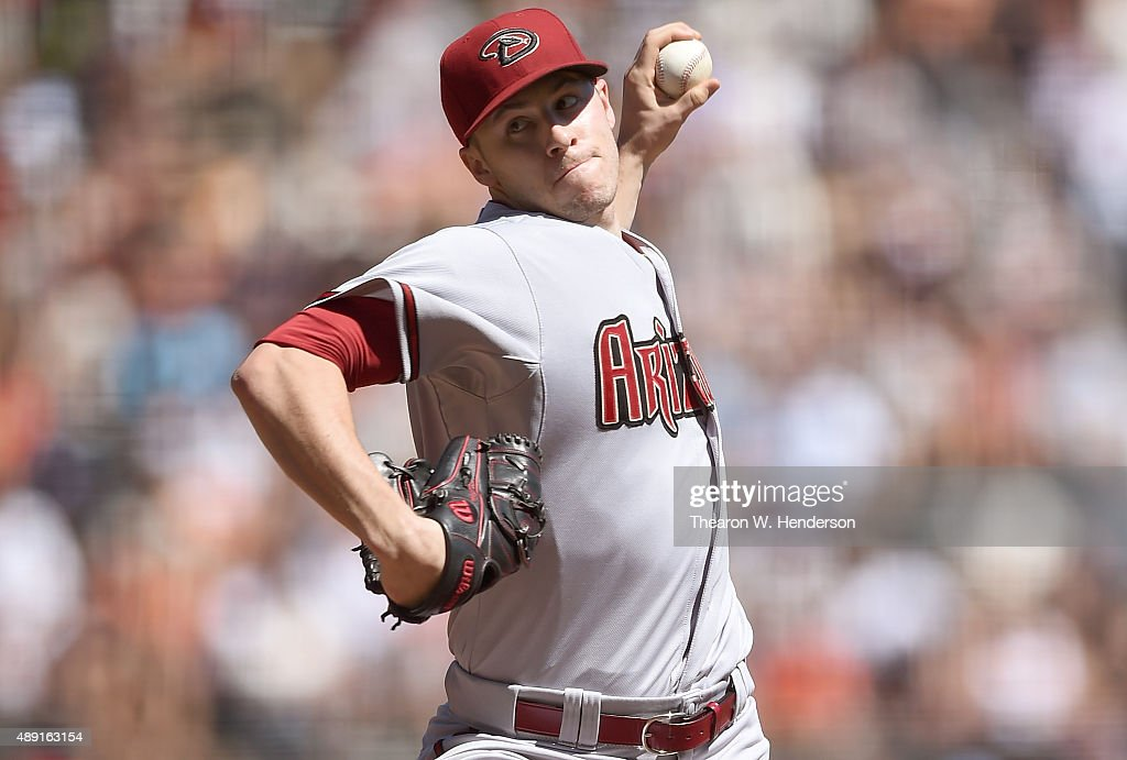 Patrick Corbin of the Arizona Diamondbacks pitches against the San Francisco Giants in the bottom of the first inning at ATT Park on September 19...