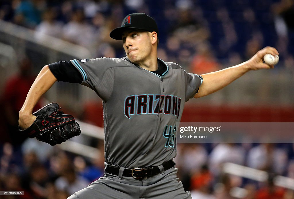 Patrick Corbin of the Arizona Diamondbacks pitches during a game against the Miami Marlins at Marlins Park on May 3 2016 in Miami Florida