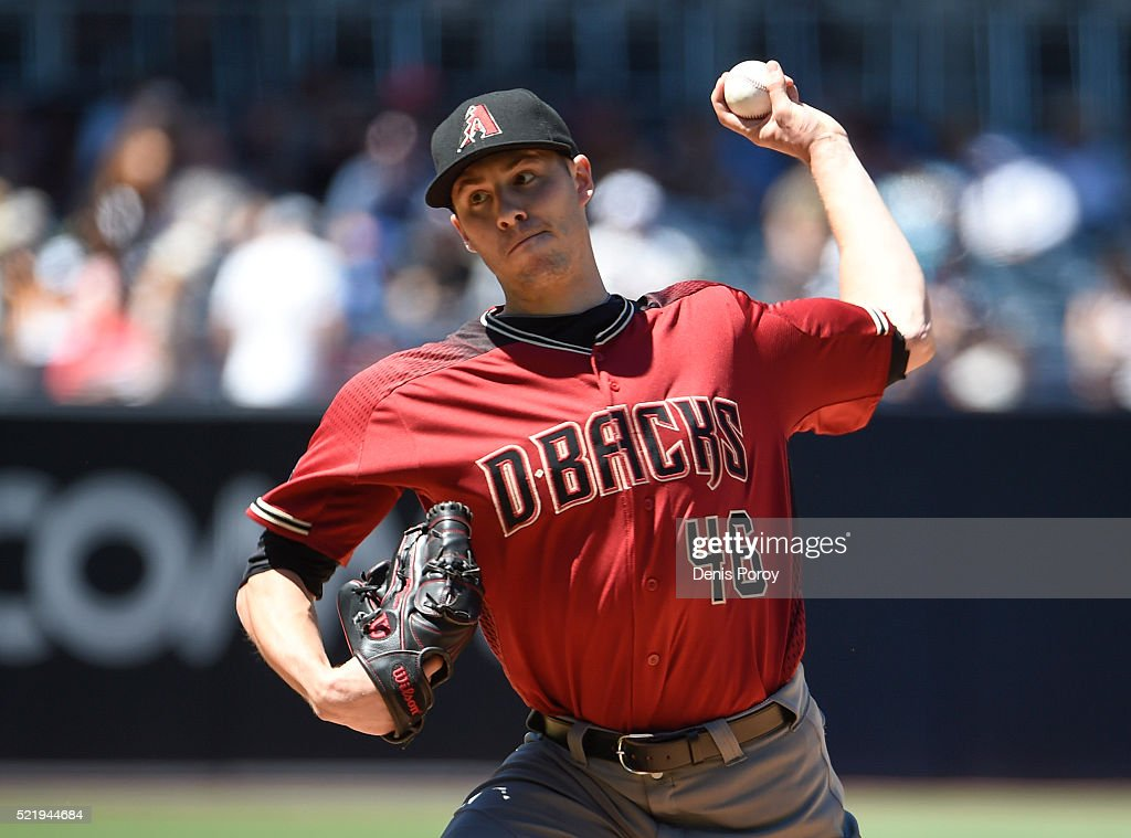 Patrick Corbin of the Arizona Diamondbacks pitches during the first inning of a baseball game against the San Diego Padres at PETCO Park on April 17...