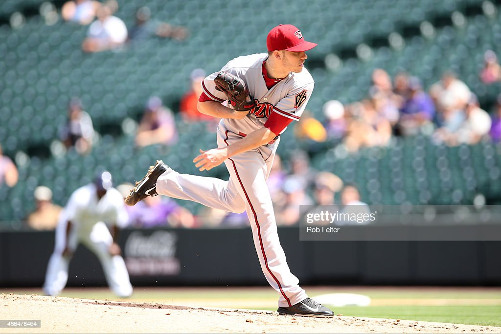 Patrick Corbin of the Arizona Diamondbacks pitches during the game against the Colorado Rockies at Coors Field on September 1 2015 in Denver Colorado...