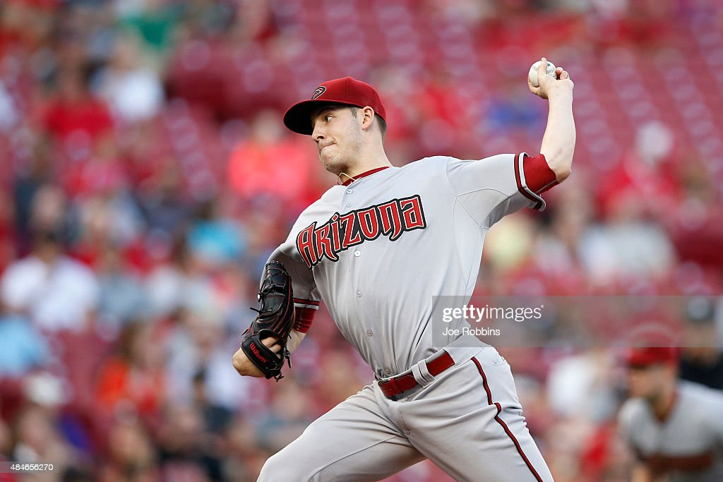 Patrick Corbin of the Arizona Diamondbacks pitches in the first inning against the Cincinnati Reds at Great American Ball Park on August 20 2015 in...