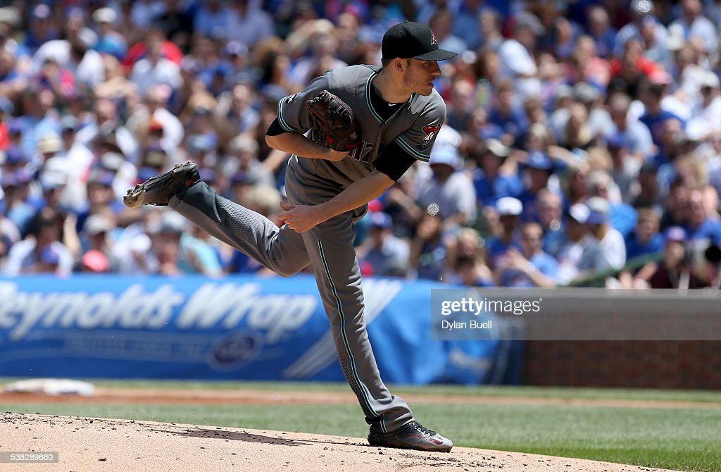 Patrick Corbin of the Arizona Diamondbacks pitches in the first inning against the Chicago Cubs at Wrigley Field on June 5 2016 in Chicago Illinois