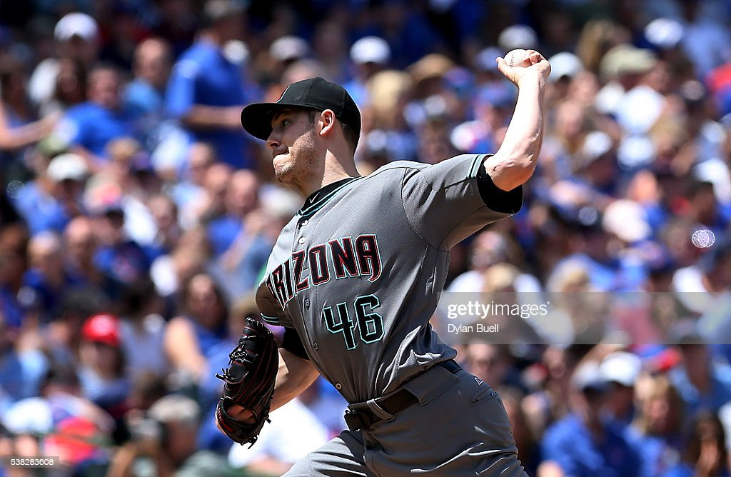 Patrick Corbin of the Arizona Diamondbacks pitches in the second inning against the Chicago Cubs at Wrigley Field on June 5 2016 in Chicago Illinois