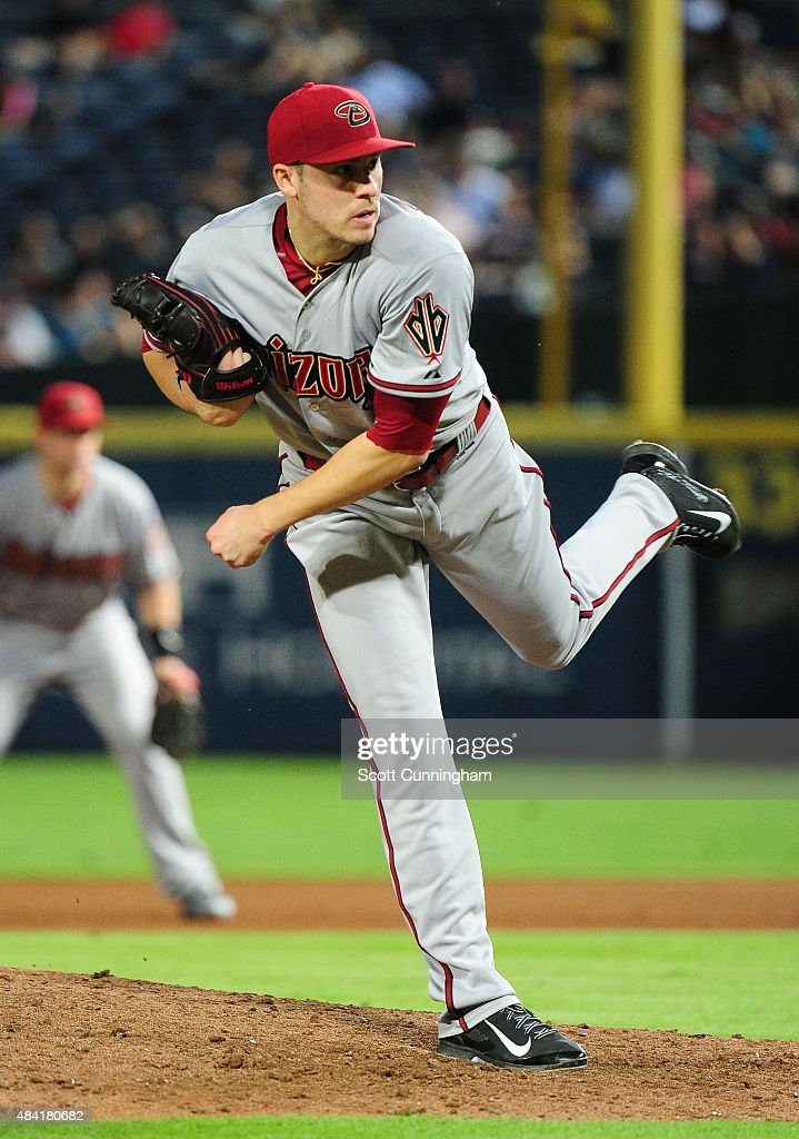 Patrick Corbin of the Arizona Diamondbacks throws a fifth inning pitch against the Atlanta Braves at Turner Field on August 15 2015 in Atlanta Georgia