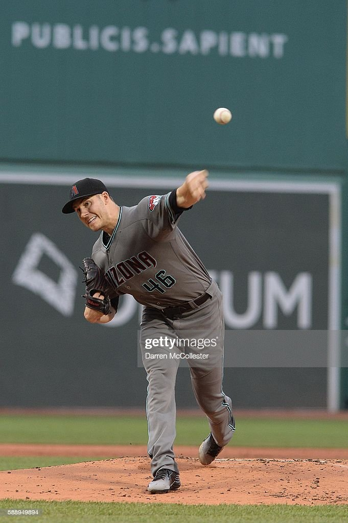Patrick Corbin of the Arizona Diamondbacks throws a pitch in the first inning against the Boston Red Sox at Fenway Park on August 12 2016 in Boston...