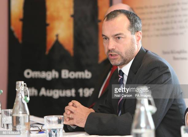 Patrick Corrigan of Amnesty International UK speaking during a press conference on behalf of the Omagh Bomb Survivors group today