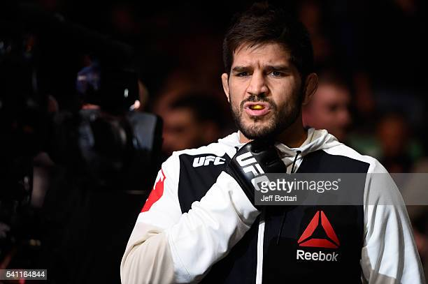 Patrick Cote of Canada prepares to enter the Octagon before facing Donald Cerrone of the United States in their welterweight bout during the UFC...