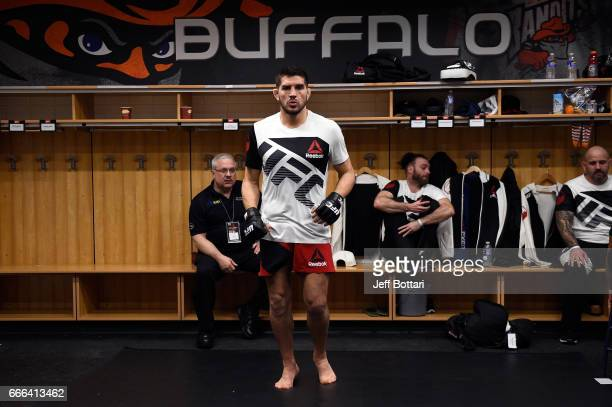 Patrick Cote of Canada warms up backstage during the UFC 210 event at the KeyBank Center on April 8 2017 in Buffalo New York