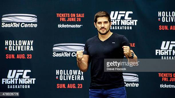Patrick Cote squares off for the crowd at a press conference at the SaskTel Centre June 24 2015 in Saskatoon Saskatchewan Canada