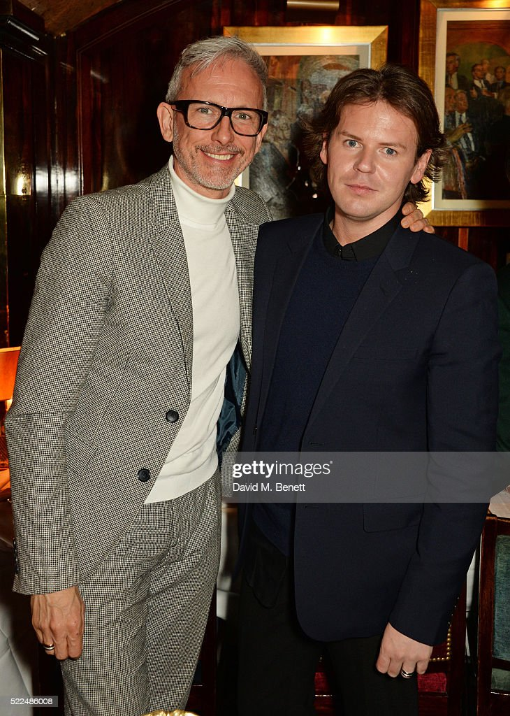 Patrick Cox and Christopher Kane attend a dinner at Annabel's to celebrate the premiere of 'Mapplethorpe Look At The Pictures' on April 19 2016 in...