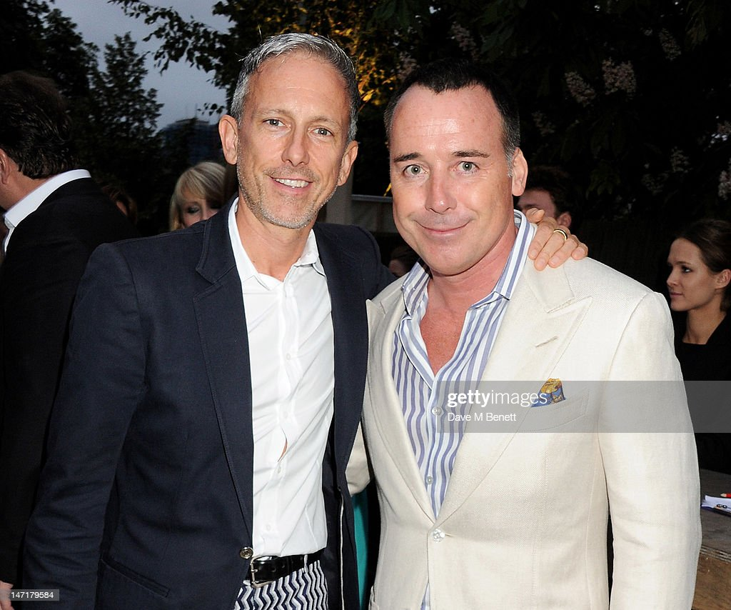 Patrick Cox (L) and David Furnish attend The Serpentine Gallery Summer Party sponsored by Leon Max at The Serpentine Gallery on June 26, 2012 in London, England.