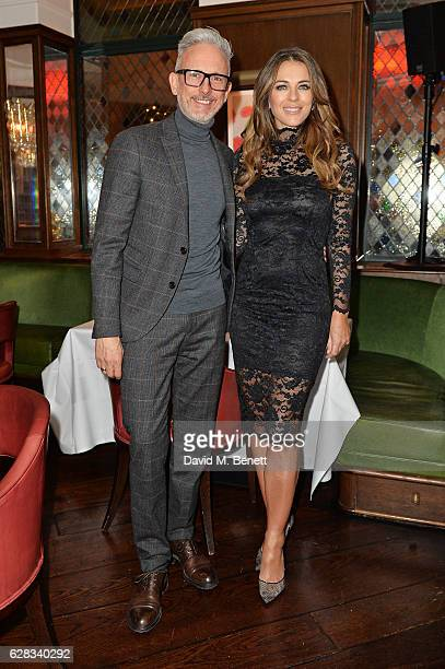 Patrick Cox and Elizabeth Hurley attend an intimate performance with Kylie Minogue at The Ivy to kick off The Ivy 100 Centenary celebrations on...