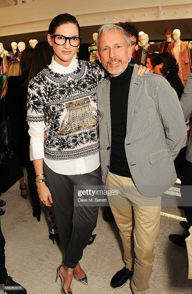 Patrick Cox and Jenna Lyons (L) attend the J.Crew concept store to launch their partnership with Central Saint Martins College Of Arts And Design at The Stables on May 22, 2013 in London, England.