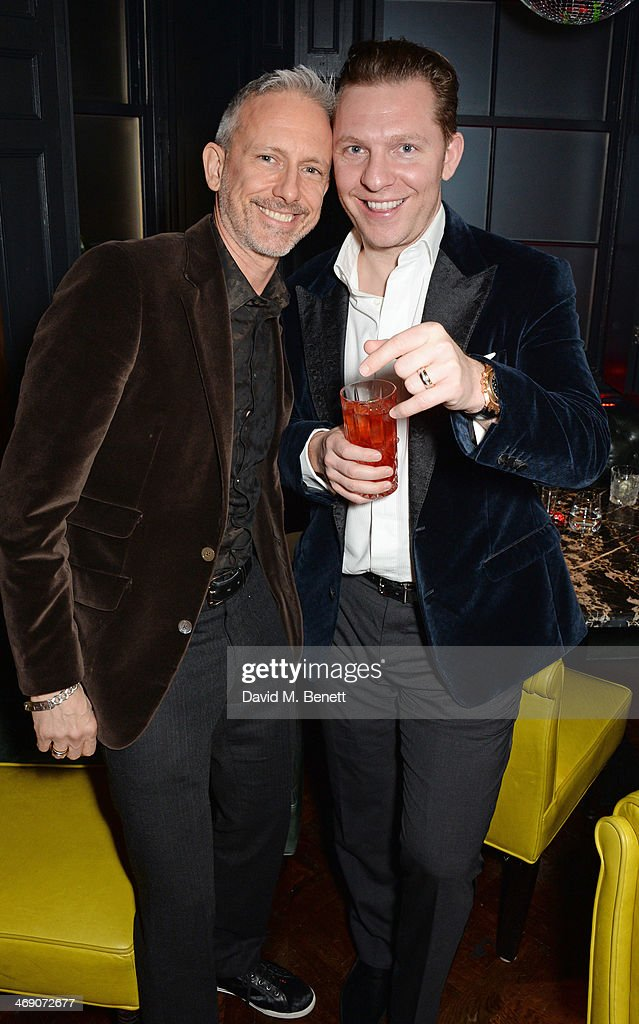 Patrick Cox (L) and Nick Candy attend Giorgio Veroni's birthday party hosted by his wife Tamara Beckwith at The Rififi Club on February 12, 2014 in London, England.