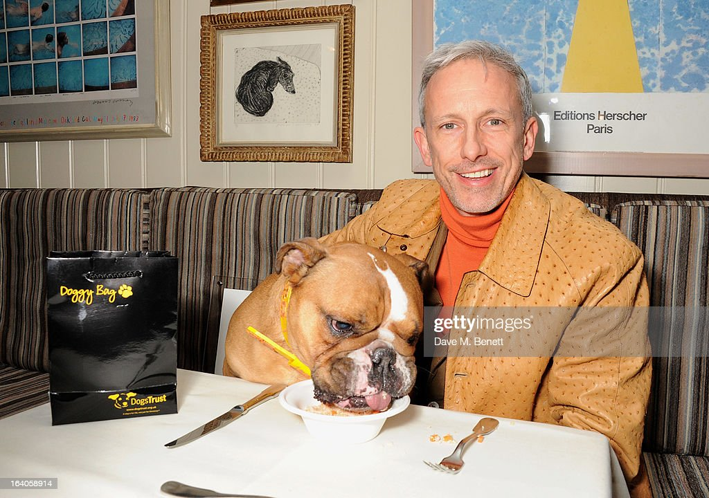 <a gi-track='captionPersonalityLinkClicked' href=/galleries/search?phrase=Patrick+Cox&family=editorial&specificpeople=213883 ng-click='$event.stopPropagation()'>Patrick Cox</a> attends Dine for Dogs Trust, launching a dog friendly menu at The George Club on March 19, 2013 in London, England.