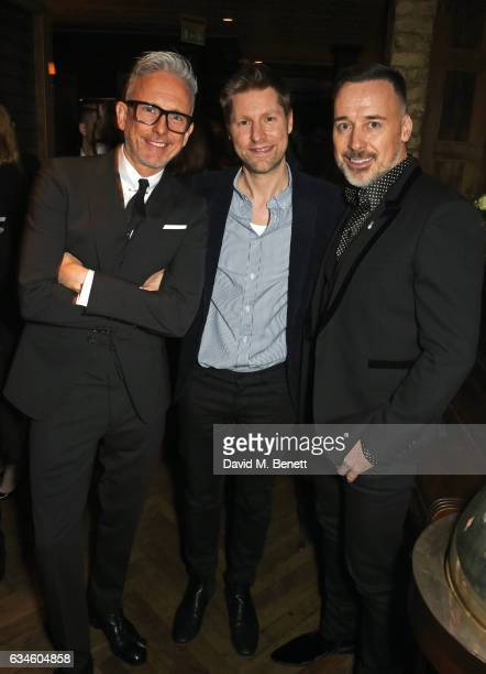 Patrick Cox Christopher Bailey and David Furnish attend a dinner cohosted by Harvey Weinstein Burberry Evgeny Lebedev ahead of the 2017 BAFTA film...