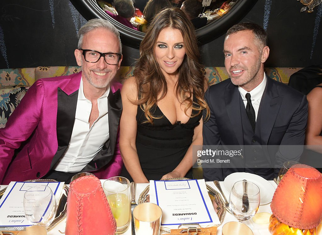Patrick Cox Elizabeth Hurley and Dan Caten attend the DSQUARED2 dinner in celebration of their new London Flagship opening at Loulou's on April 21...