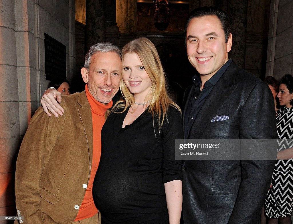 (L to R) Patrick Cox, Lara Stone and David Walliams attend the dinner to celebrate The David Bowie Is exhibition in partnership with Gucci and Sennheiser at the Victoria and Albert Museum on March 19, 2013 in London, England.