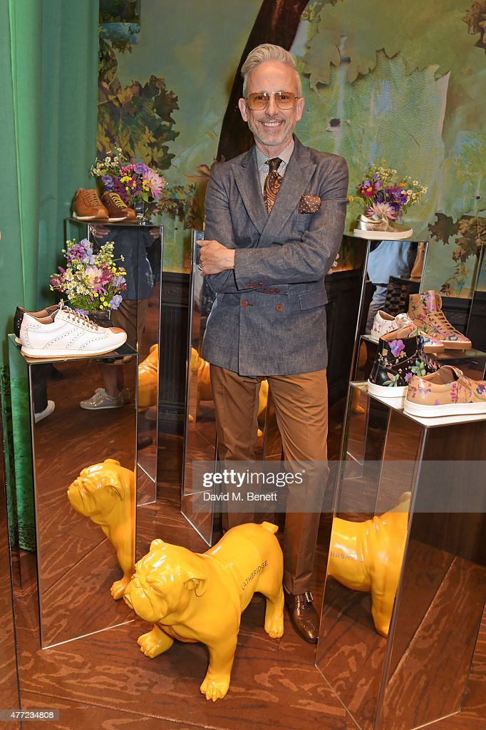 Patrick Cox poses at the LATHBRIDGE by Patrick Cox presentation and official launch during London Collections Men SS16 at Sketch on June 15 2015 in...