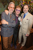 Patrick Cox Sir Elton John and David Furnish attend the LATHBRIDGE by Patrick Cox presentation and official launch during London Collections Men SS16...