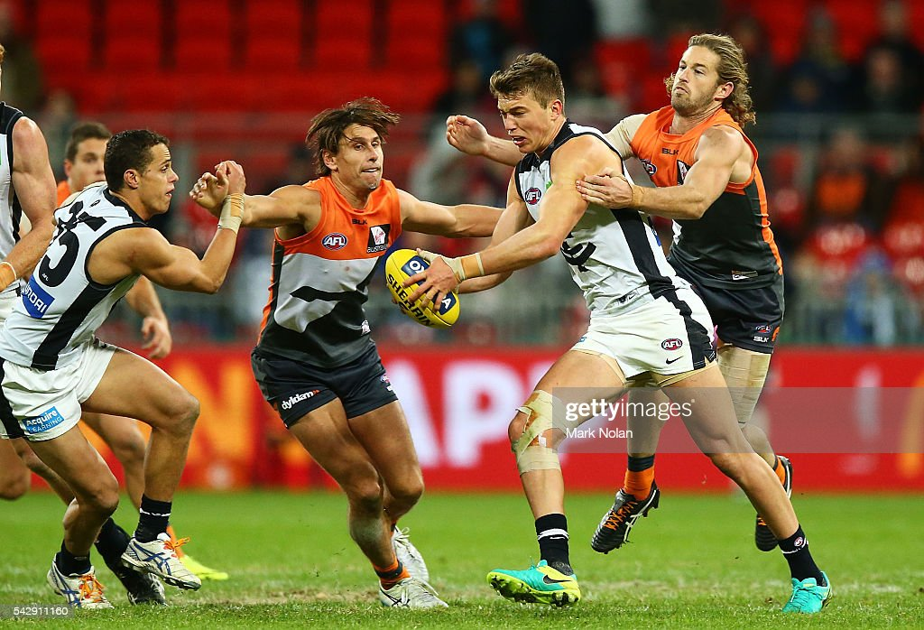 Patrick Cripps of Carlton in action during the round 14 AFL match between the Greater Western Sydney Giants and the Carlton Blues at Spotless Stadium on June 25, 2016 in Sydney, Australia.
